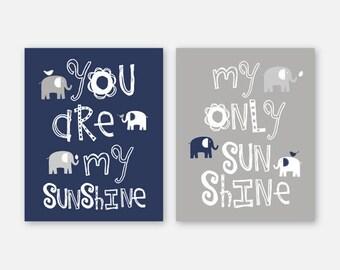 Boy Nursery Art, Elephant Nursery Decor, Elephant Nursery Prints, Elephant Nursery Art, Navy White Gray, You are my sunshine, Pick the Size
