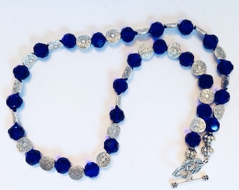 Royal Blue Glass Beaded Necklace