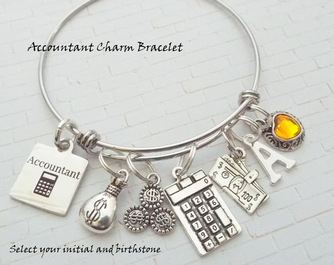 Accountant Charm Bracelet, Gift for Accountant, CPA Charm Bracelet, Gift for CPA, Custom Jewelry Gift Women, Birthday Gift for Accountant