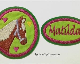 Sew-on patches, back to school, school bag, name button, horses
