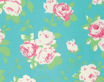 Chloe by Tanya Whelan and Free Spirit Fabrics Pink Roses on Aqua pwtw101-green