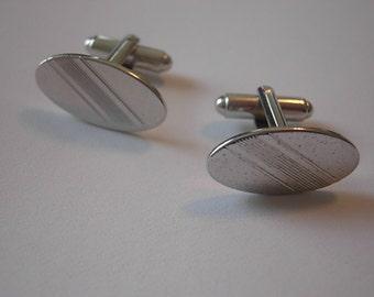 1960s Silver Rockabilly Cuff Links