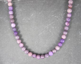 Sterling Sugilite Bead Necklace 8mm 19.5 Inches