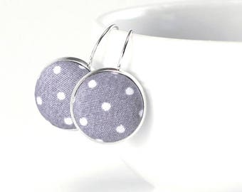 Grey and White Polka Dots Earrings, Silver Toned Leverback Earrings, Classic Drop Earrings, Cottage Fabric Button Jewelry, Gift for Her