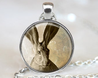 Jack Rabbit Pendant, Rabbit Necklace, Rabbit Art Jewelry, Bunny Art Pendant, Rabbit Jewelry, Gift, Rabbit Art Pendant, Bronze, Silver, 002
