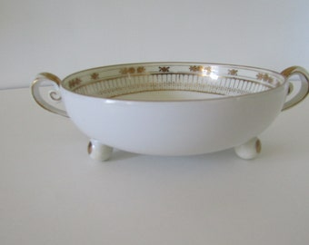 Nippon Hand Painted 3 Footed Gold Trimmed Porcelain Dish