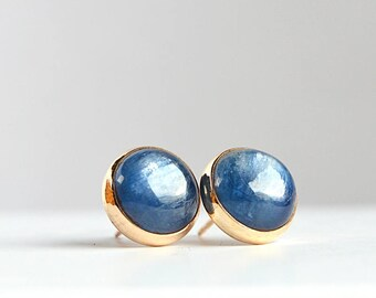 Blue Kyanite Stud Earrings, 6mm or 10mm gemstone posts, Gift For Her: 14k Gold Filled, Sterling Silver, Oxidized silver