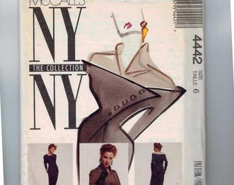 1980s Misses Sewing Pattern McCalls 4442 Misses Dress Long Sleeve Front Tucks Contrast Yoke Size 6 Bust 30 1/2 1989 80s