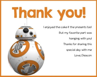 Star Wars- Birthday Party Thank you Card