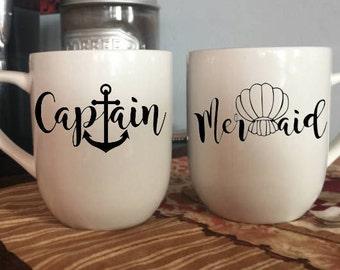 Couples Mug Set - Couples Valentines Day Gift - Couples Gift - Valentines gift for him - Coffee Mug Set - Mermaid Coffee Mug - Captain Mug