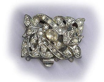 vintage CLASP ART DECO four strand amazing design rhodium plated jewelry clasp necklace clasp movie star quality bridal finding