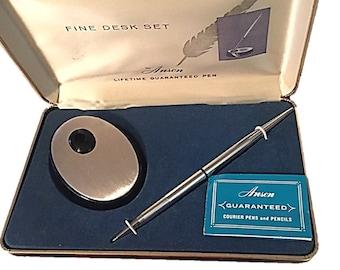 Vintage Anson Fine Desk Set Silver Pen Set from the 1970's Ballpoint Pen, Decorated Fine Jewelers Pen Set