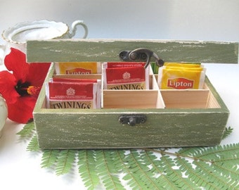 Green Tea Bag box  Shabby Chic Home Decor / Tea bag box, wooden tea box, rustic tea box