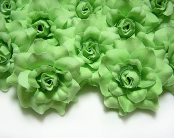 24 Light Green mini Roses Heads - Artificial Silk Flower - 1.75 inches - Wholesale Lot - for Wedding Work, Make clips, headbands