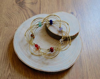 Handmade wire meditation mandala with semi precious chakra beads, copper/ silver/ brass