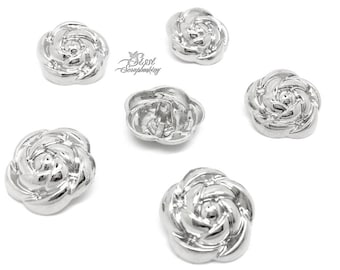Pink PETAL fashion Camellia 25mm sewing SCRAPBOOKING set 3 MAXI flower child silver METAL buttons
