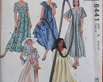 Misses' Dresses with Sleeve and Neckline Variations, McCall's 6441 Sewing Pattern UNCUT Size 6, 8, 10