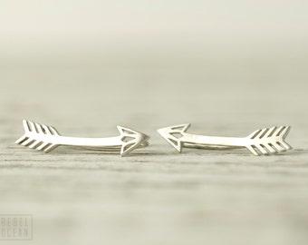 Arrow Earrings Sterling Silver Ear Cuff American Native Ear climber Pin Earrings Boho Jewelry - FES019