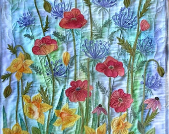 Botanical Art quilt made with hand painted fabric,  wall art, wall hanging, textile art - Flowers