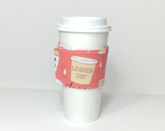 Fabric coffee cup cozy, coffee cups, coffee sleeve, to go cup, winter accessory, spring accessories, Latte
