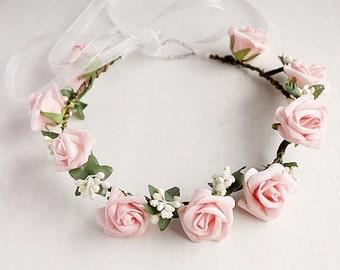 Pink Rose Crown, Girls Crown, Boho Bridal Halo, Flower Girl Wreath, Woodland Crown, Rose Wedding Crown, Festival Crown, Flower Girl Crown
