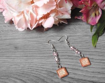 Pink Wedding Earrings -  Pink Square Earrings - Bridesmaid Earrings - Rosy Pink Earrings - Soft Pink Earrings - Flower Girl Earrings