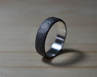 Black Rustic Wedding Ring for Men, Black Meteorite Ring, Mens Sterling Silver Ring, Mens Rustic Wedding Ring, Textured Silver Wedding Band