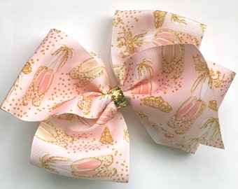 Extra large boutique bow ballerina print, extra large hair bow, big boutique hair bow, large boutique hair bow, ballerina print hair bow