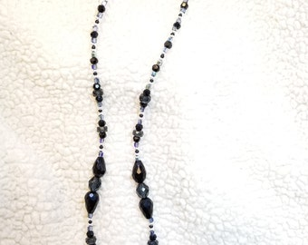 Silver Horse pendant with midnight blue, black, & silver beads beads