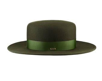 Canotier wide brim green hat
