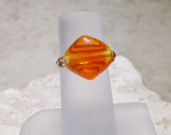 Orange Lamp Work Bead Wire Ring - Gold Wire Wrap Ring - Orange Bead Ring - Glass Bead Ring - Size 7 Ring - Gold Wire Ring - Bead Ring