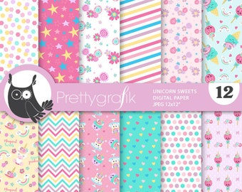 80% OFF SALE Unicorn Sweets digital papers, commercial use, unicorn scrapbook papers, unicorn papers, background - PS919