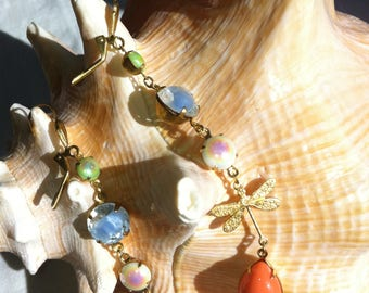 Earrings with flowers and dragonfly, vintage pearls and rhinestones
