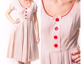 1950's Red and White Polka Dot Day Dress/ 50's Cotton Sundress