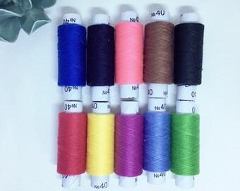 Fil à coudre numéro 40 différents coloris Lot de 10 bobines