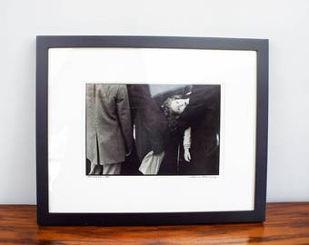 Vintage Signed Original Chaim Kanner Photograph Young Girl in Crowd New York 87, One of A Kind Housewarming Gift Idea, Modern Home Decor