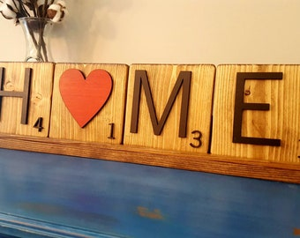 3D Wooden Handmade Text Tiles with Display Tray - HOME w/HEART - Custom Words Available