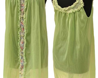 Vintage 60s Green Sheer Nylon Babydoll Nightie with Floral Embroidery Panel