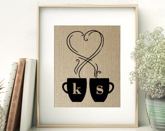 Coffee Lovers | Personalized Initials Monogram Burlap Print | Wedding Anniversary Gift | Tea Lovers | Gift for Couple | Bride and Groom