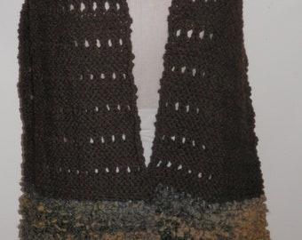 Hand Knitted Brown Lacy Lambswool Texture Shawl