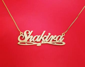 14k Gold Name Chain Gold Nameplate Necklace Shakira Necklace 14ct Name Necklace 14kt Name Necklace Gold Personalized Necklace
