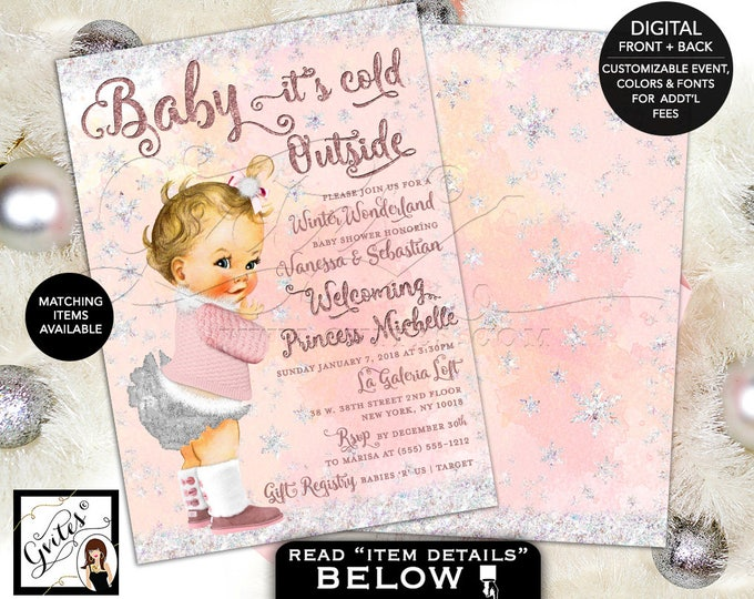 Winter Wonderland Baby Shower Invitations, Baby Girl Pink and Silver, Baby it's Cold Outside, 5x7 double sided, DIGITAL! Gvites