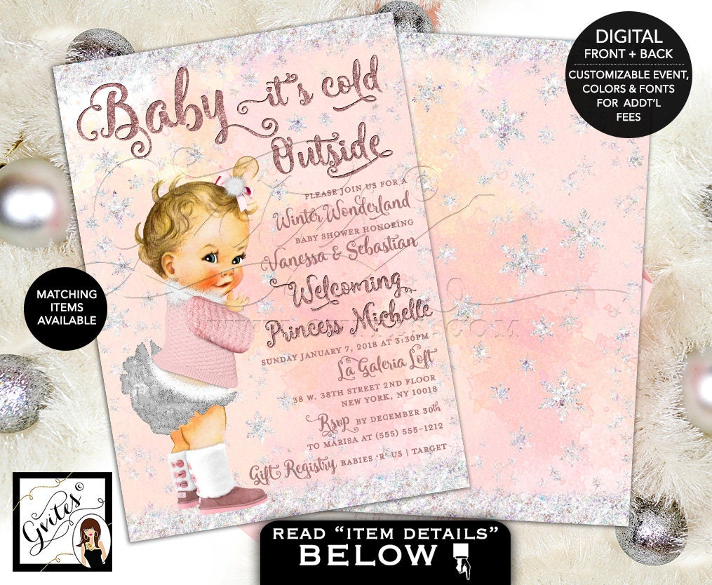 Winter Wonderland Baby Shower Invitations, Baby Girl Pink and Silver ...