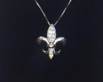 14K White Gold .11ct tw Diamond Fleur-de-lis Pendant, Fleur-de-lis Diamond Pendant, Fleur-de-lis Diamond Necklace