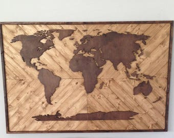 Wood World Map - sale item, local listing