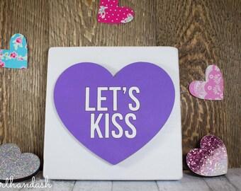 """Laser Cut Conversation Heart """"Let's Kiss"""""""