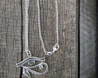 Men's Eye of Horus Necklace Eye Charm Antique Tibetan silver Egyptian Eye of Horus Charm Pendant On 30 Inch 925 Sterling Silver Chain CM9252