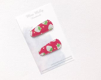 Red and white strawberry Hair clips, baby snap clips, snap clips, baby hair accessories, infant hair clips, toddler hair clips, toddler hair