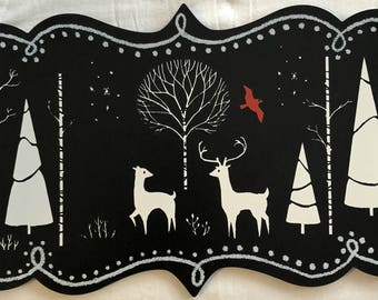 Winter Woodland Scene chalkboard
