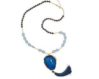 Beaded Agate Slice Tassel Necklace, Beaded Boho Tassel Necklace, leather necklace, suede necklace, agate necklace, tassel necklace, tassel